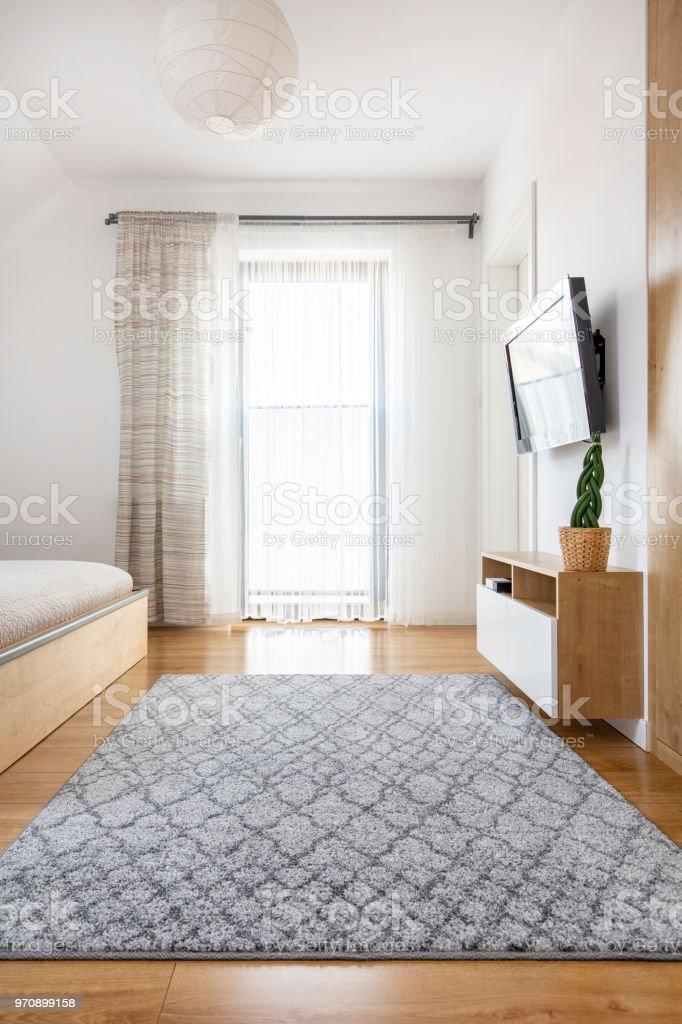 Grauer Teppich Auf Holzboden Innen Helle Schlafzimmer Mit Fenster Und Fernseher Echtes Foto Stockfoto Und Mehr Bilder Von Bett Istock