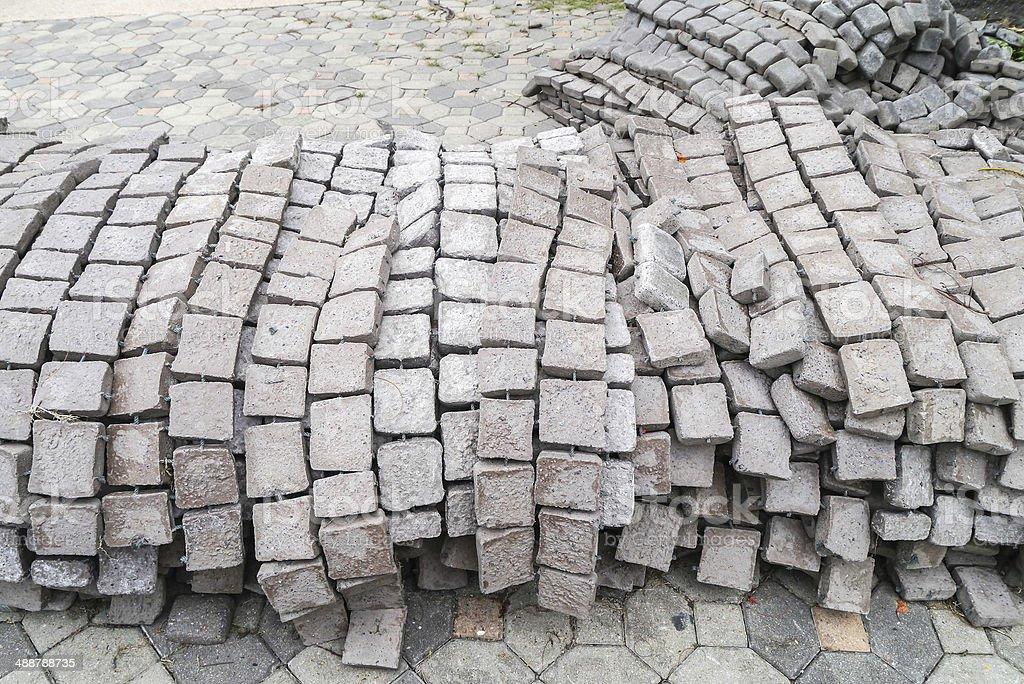 Grey cement blocks. stock photo