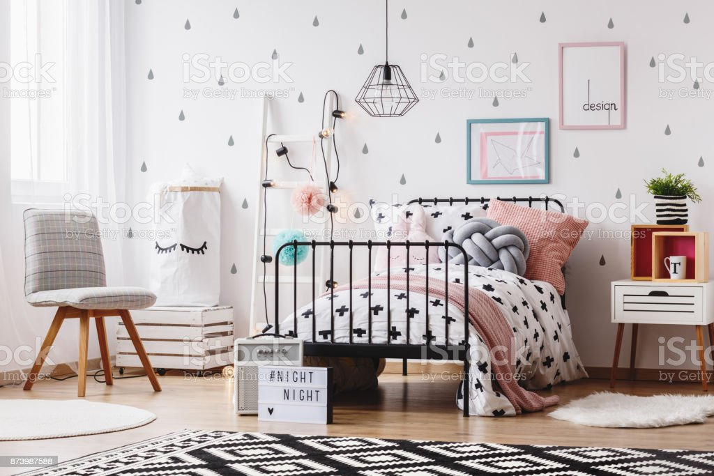 Grey Chair In Girls Bedroom Stock Photo Download Image Now Istock