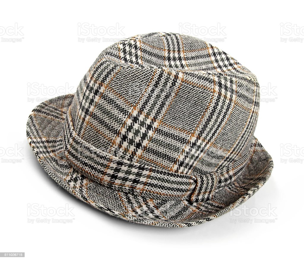 grey checked trilby hat isolated on a white stock photo