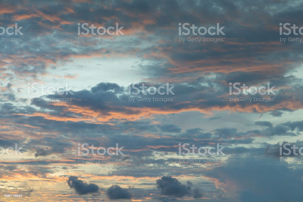 grey clouds and twilight sky in evening time stock photo