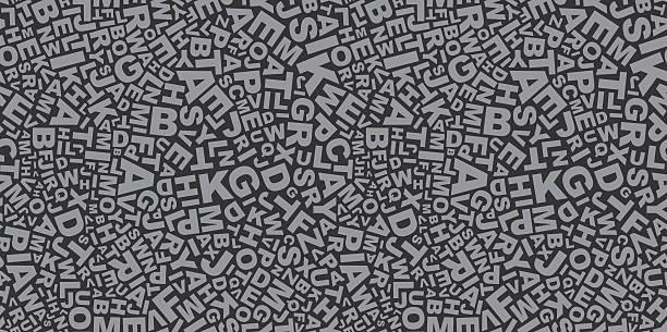 grey color abstract letters seamless pattern - eén woord stockfoto's en -beelden