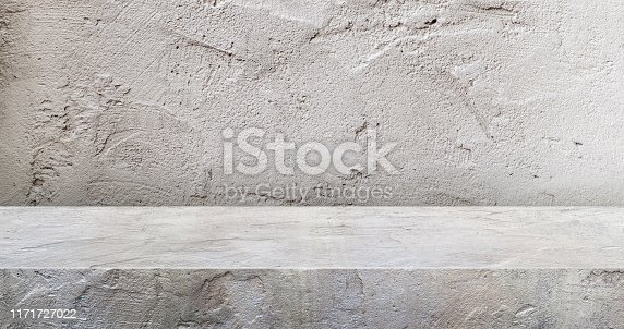 istock grey concrete texture table product display background.3d perspective studio photography stand.banner mokc up space for showcase product.empty countertop backdrop..buseiness presentation for advertise 1171727022