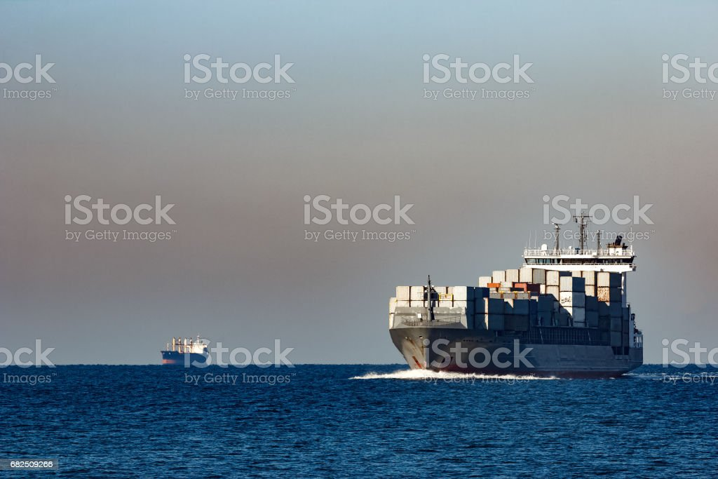 Grey container ship royalty-free stock photo