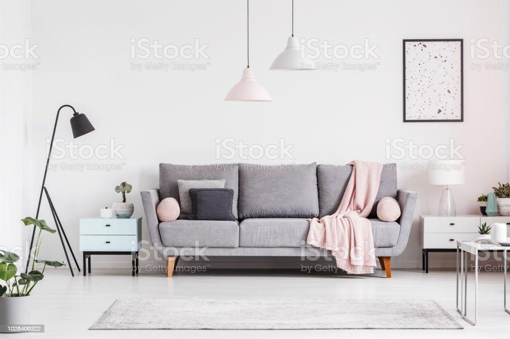 Graue Couch Mit Decke Zwischen Schränke Im Wohnzimmer ...