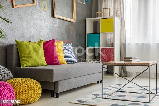 Grey comfortable couch with colored cushion in living room