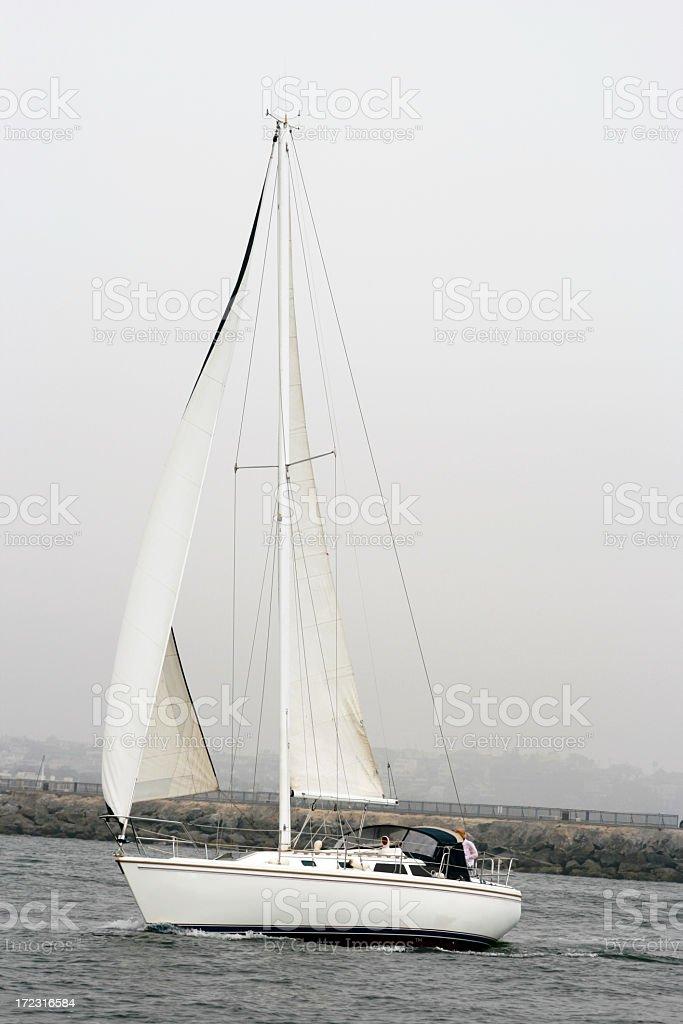 Grey Day Sail royalty-free stock photo