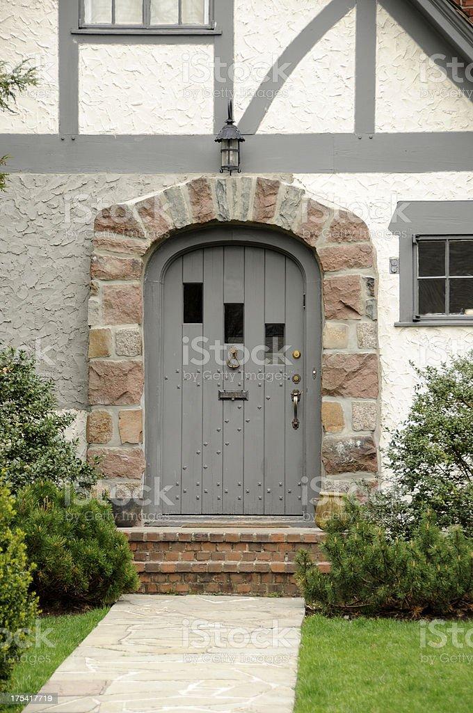 Grey Door stock photo