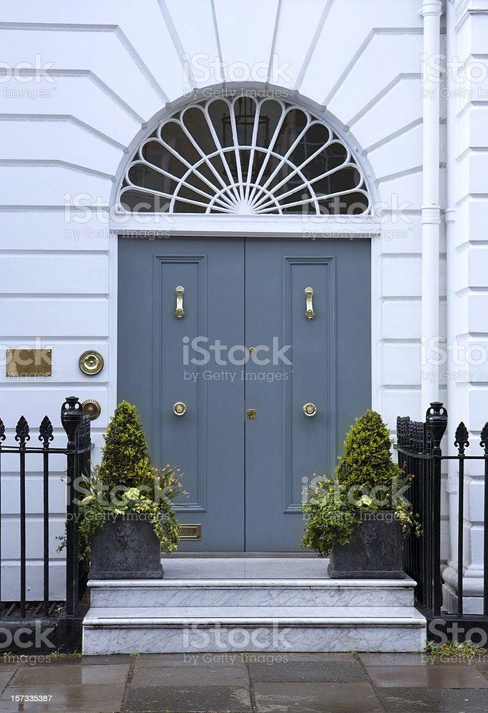Grey doors stock photo