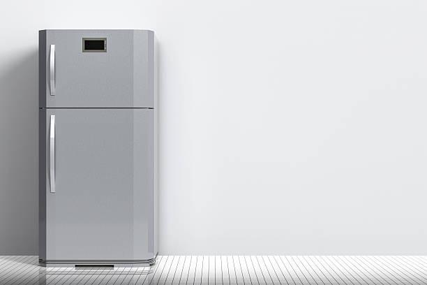 grey fridge with blank space - geschlossene küchen stock-fotos und bilder