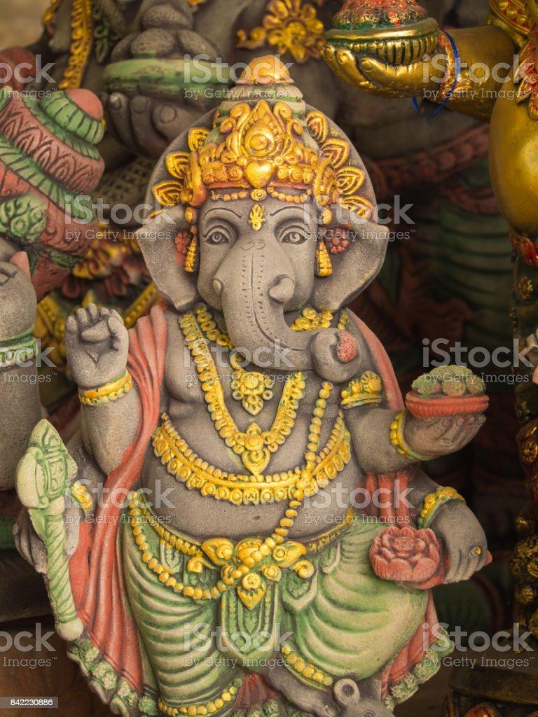 Grey Ganesh Elephant God Statue in Sleeping stock photo