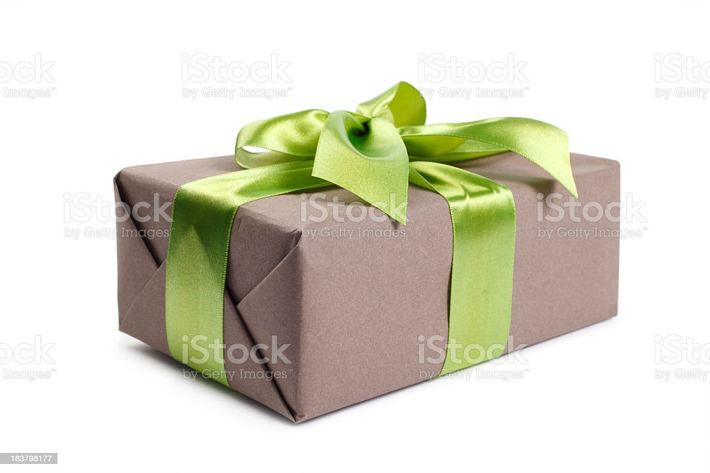 Grey gift box with green ribbon royalty-free stock photo