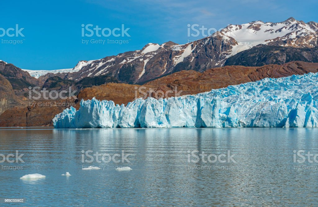 Grey Glacier in Torres del Paine Chile stock photo