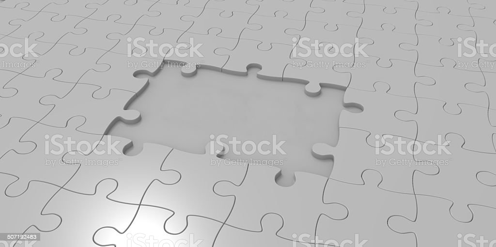 3D grey gray jigsaw puzzle pieces royalty-free stock photo