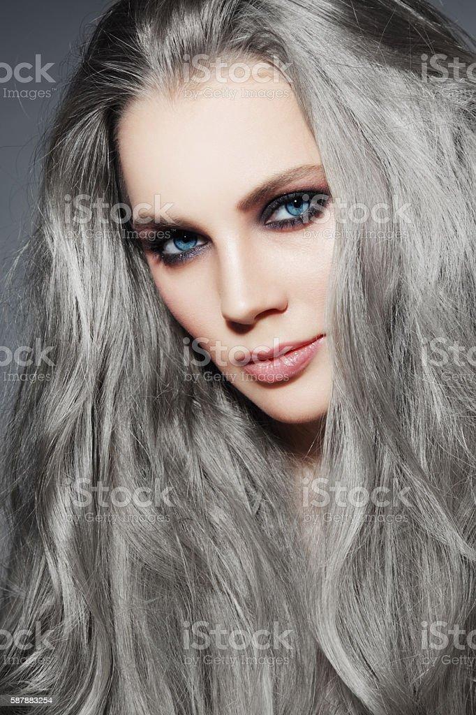 Grey hair stock photo