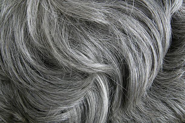 Grey hair texture stock photo