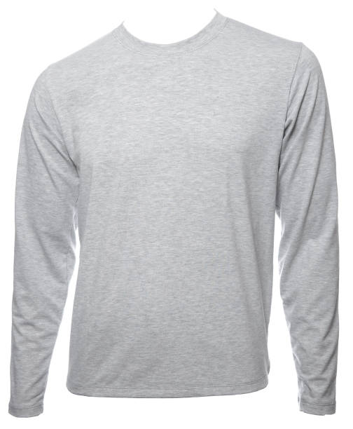 Grey heathered  longsleeve cotton tshirt template isolated Grey heathered  plain long sleeved cotton T-Shirt template isolated on a white background long sleeved stock pictures, royalty-free photos & images