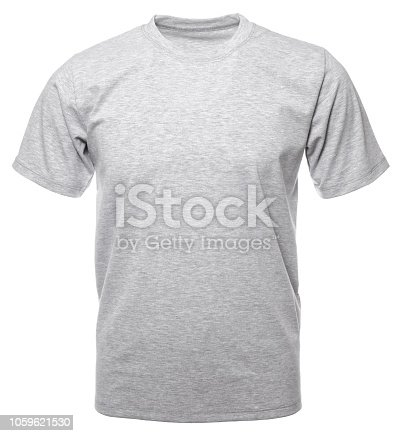 Grey heathered shortsleeve cotton T-Shirt on hollow invisible mannequin isolated on a white background