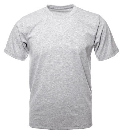 Grey heathered shortsleeve cotton tshirt on invisible mannequin isolated