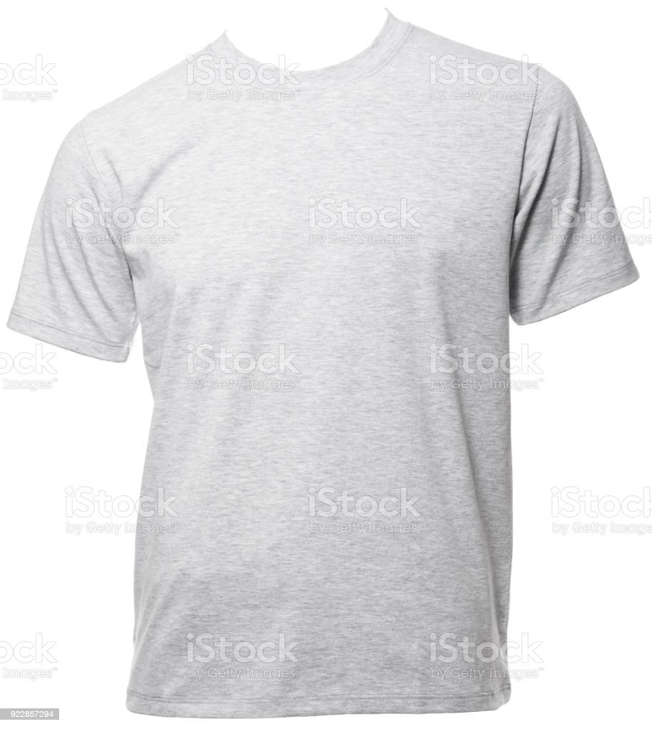 Grey heathered shortsleeve cotton tshirt template isolated stock photo