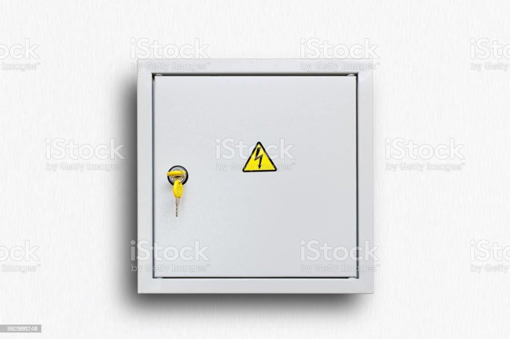 Grau klappbar Power Supply-Box mit gelben Tasten – Foto