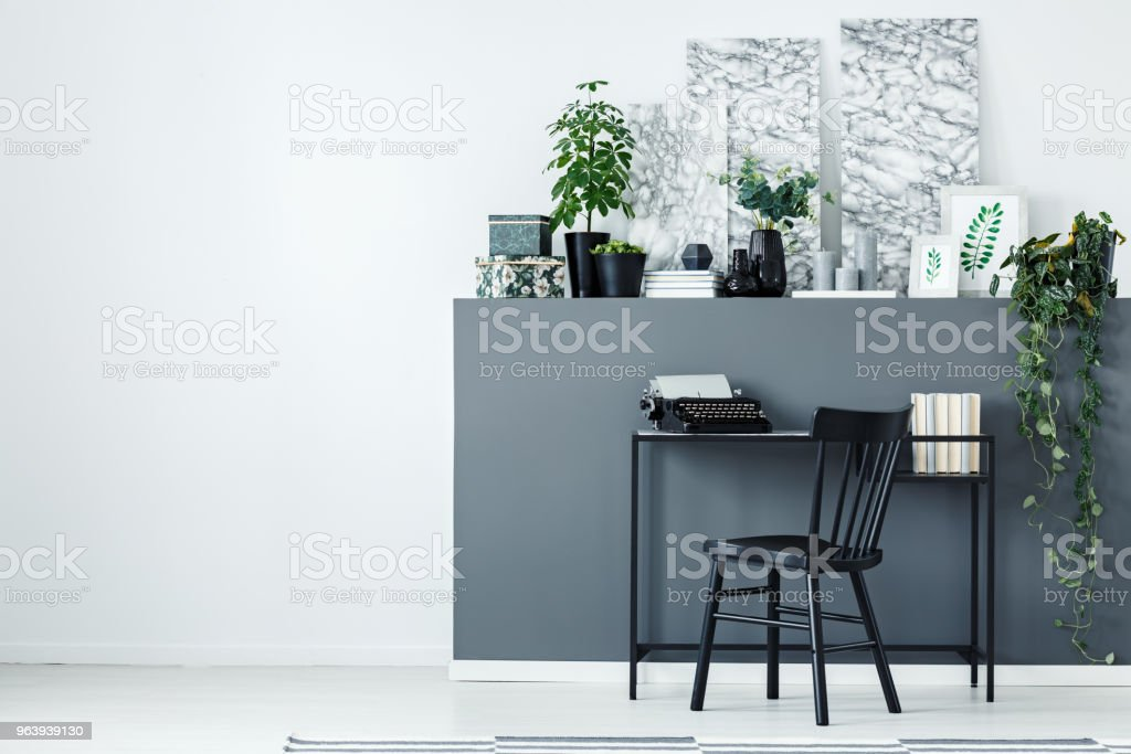 Grey home office interior - Royalty-free Apartment Stock Photo
