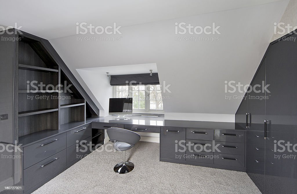 grey home office stock photo
