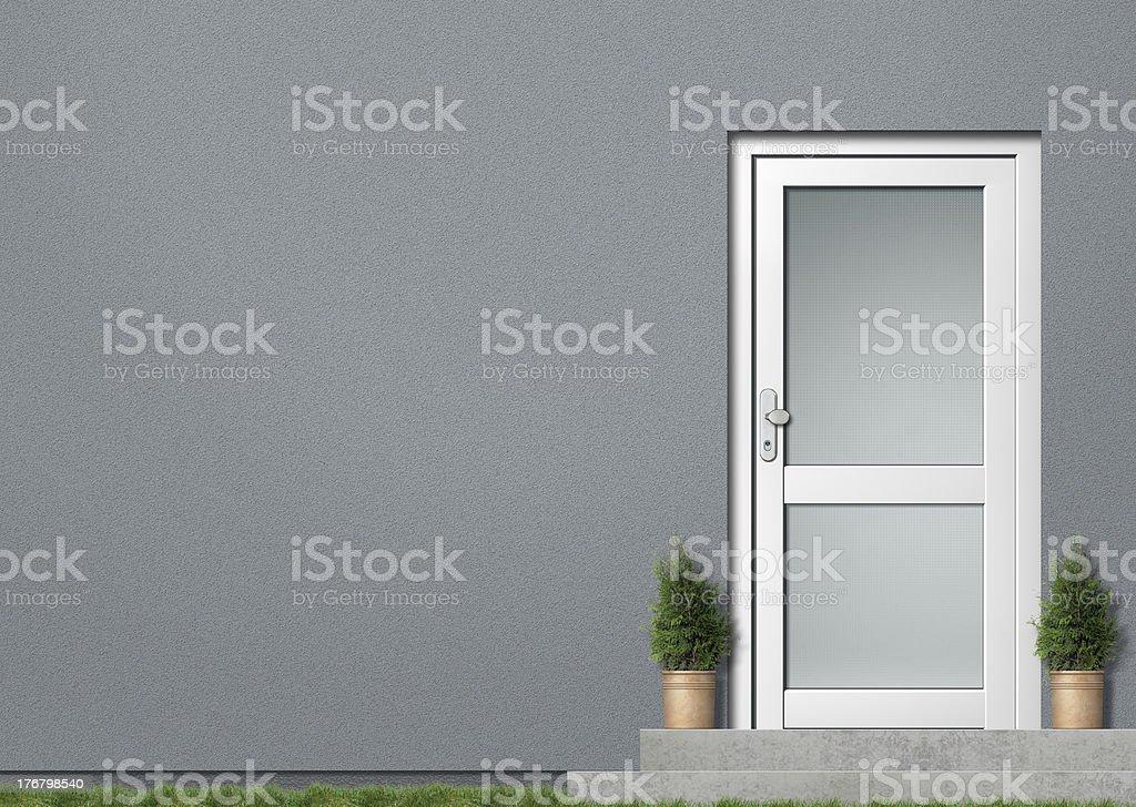 Graue Haus Wand und weißer Tür – Foto