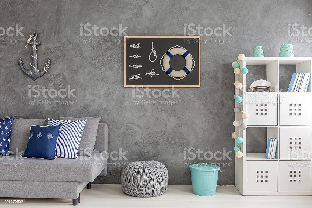 Grey interior with nautical decorations photo libre de droits