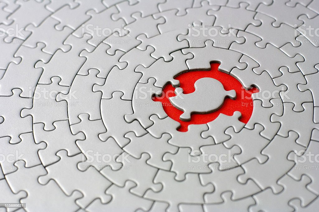 grey jigsaw with space and one of the missing pieces royalty-free stock photo