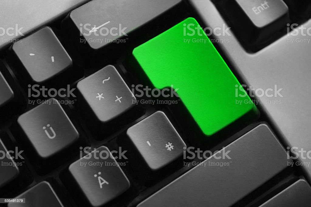 grey keyboard empty green enter button stock photo