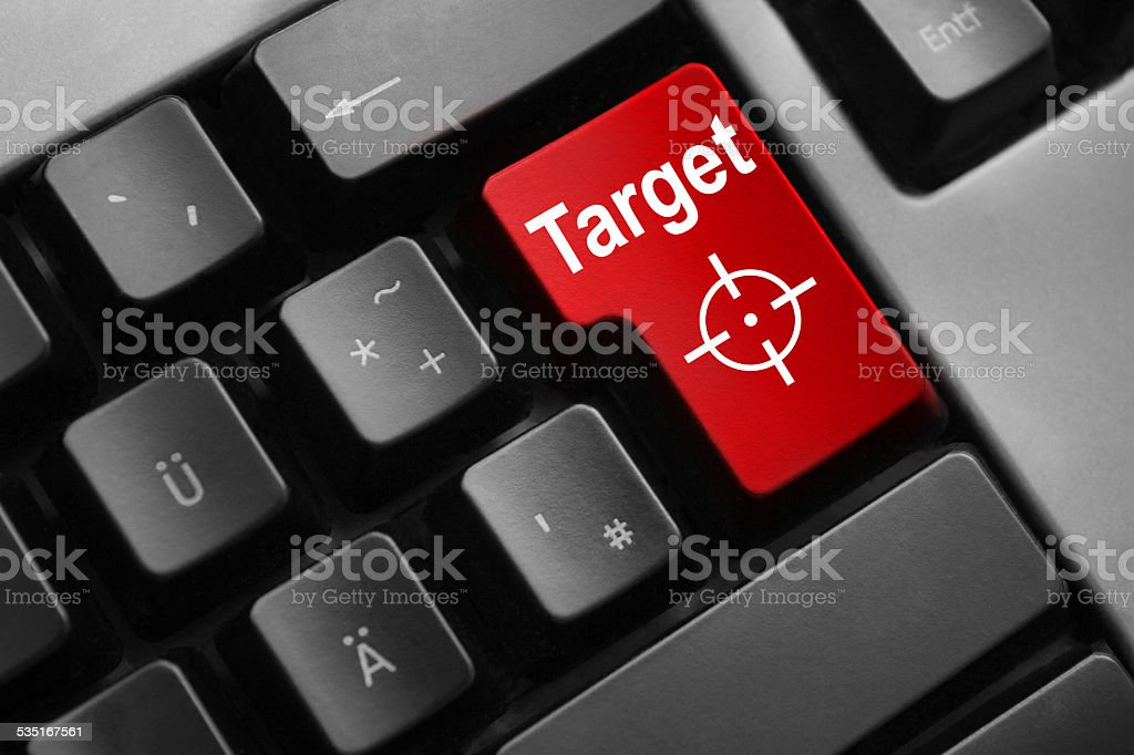 grey keyboard red enter button target crosshair stock photo