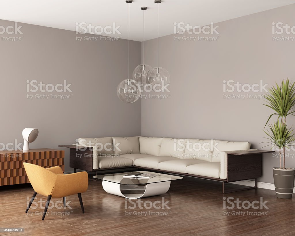 Grey living room with a leather sofa stock photo