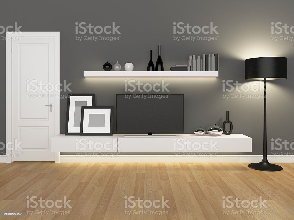 Grey Living Room With Tv Stand And Bookcase Rendering Stock