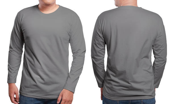 Grey Long Sleeved Shirt Design Template Grey long sleeved t-shirt mock up, front and back view, isolated. Male model wear plain gray shirt mockup. Long sleeve shirt design template. Blank tees for print long sleeved stock pictures, royalty-free photos & images