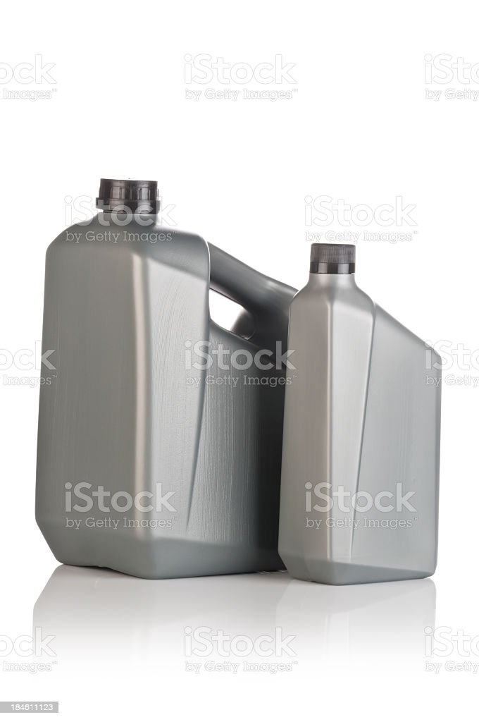 A grey lubricant canister against a white background  stock photo
