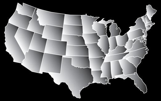istock US Grey Map 131706891