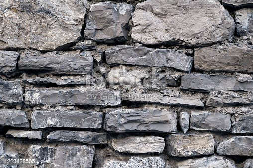 Grey masonry, stonework, brickwork texture. Concrete different gray stone surface with cement. Rock gloomy pattern background. Abstract damaged urban dirty rough grainy stone wall