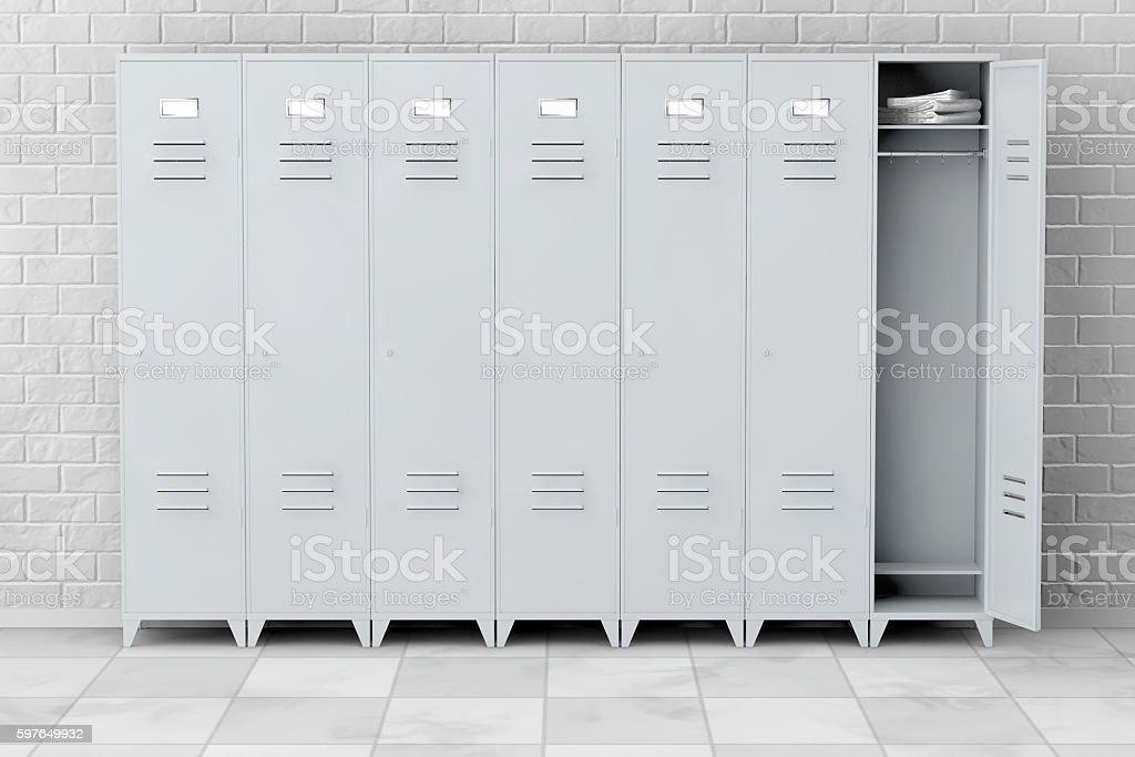 Grey Metal Lockers. 3d Rendering stock photo