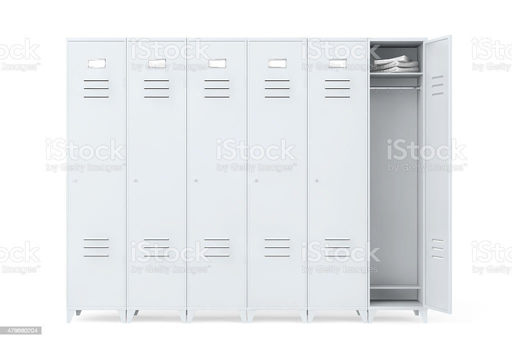 Grey Metal Lockers stock photo