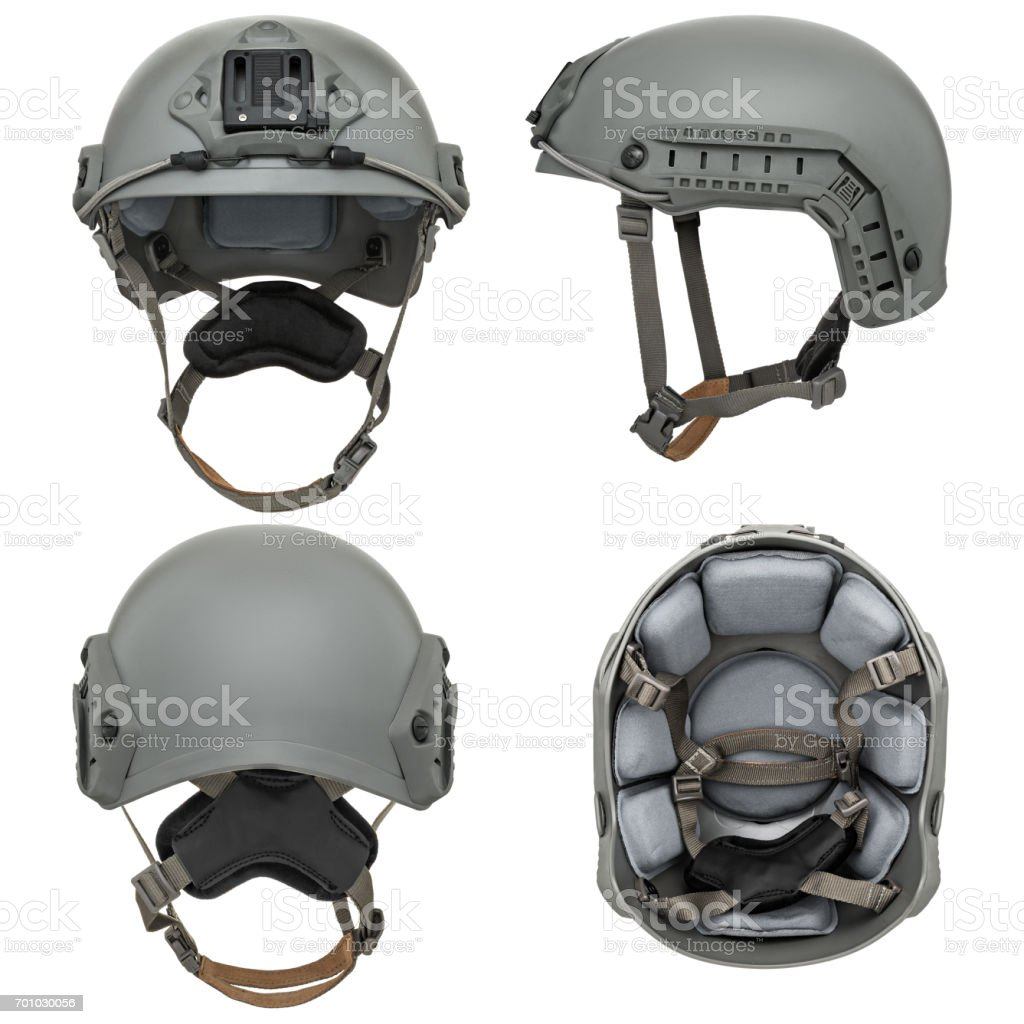 Grey military helmet stock photo