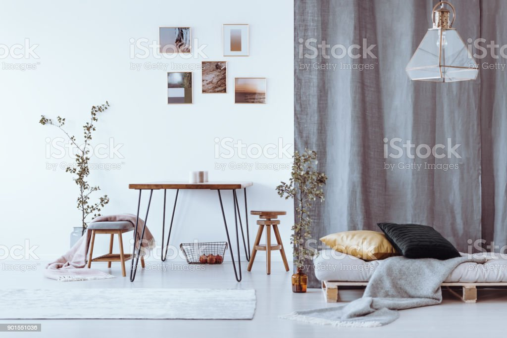 Grey Multifunctional Dining Room Royalty Free Stock Photo
