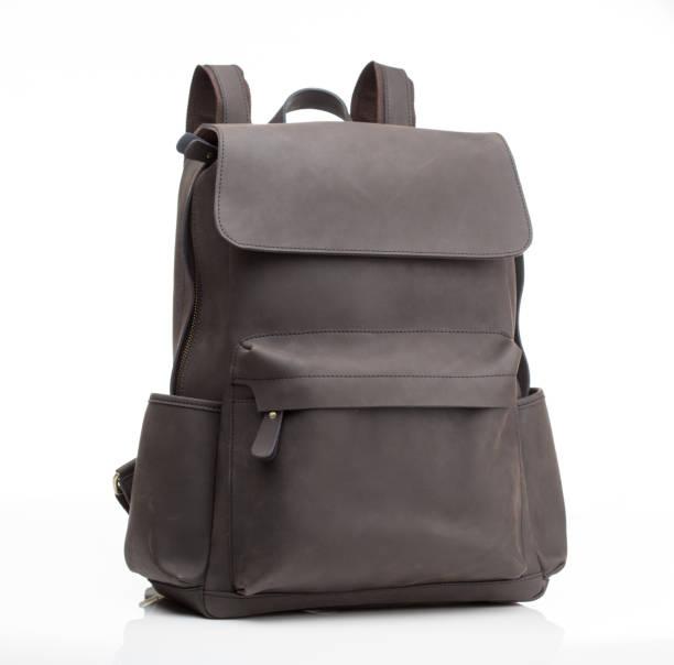 grey nubuck leather unisex casual backpack - cartella scolastica foto e immagini stock