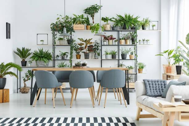 Grey open space interior stock photo