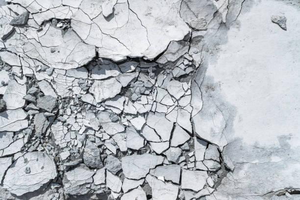 szary wzór lub teksturowane tło z pękniętym betonem. - popękany zdjęcia i obrazy z banku zdjęć