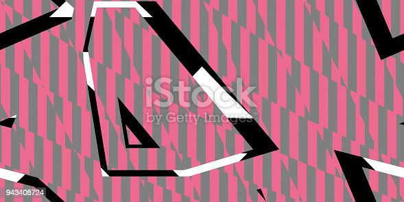 istock Grey Pink Seamless Prickly Scraps Background. Sharp Angular Shapes on Monochrome Texture. Prickly Contrast Ragged Flaps Backdrop. 943408724