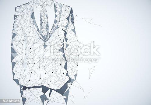 istock Grey polygonal businessman outline 805434358