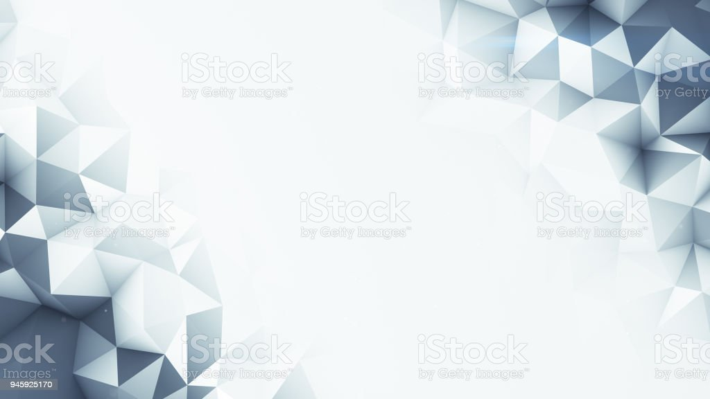 Grey polygons and free space abstract 3D render background stock photo