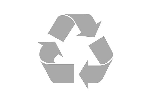 grey recycle symbol with clipping path - recycling symbol stock photos and pictures