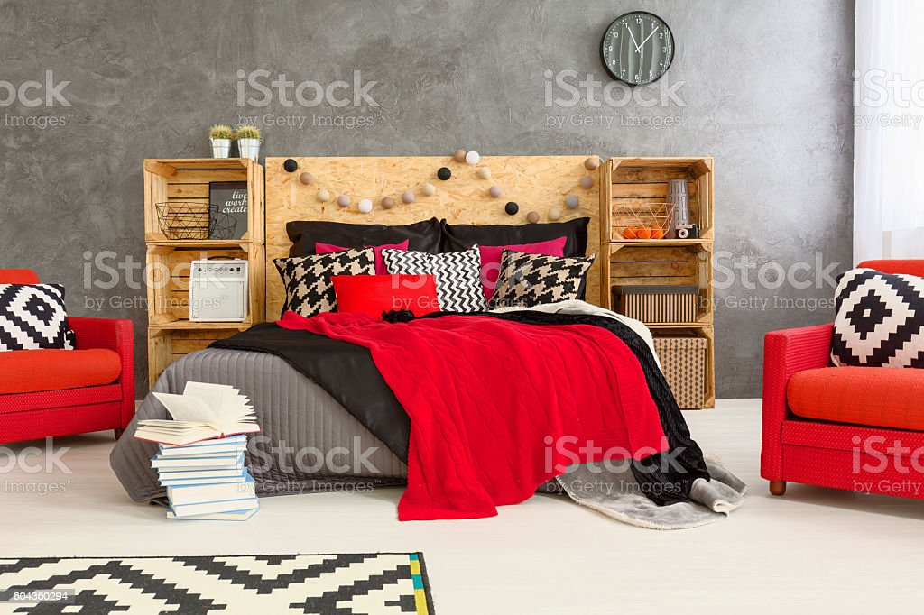 Grey, red and white room stock photo